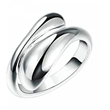 Ecloud Shop® Plata 925 anillo plateado mujeres de moda Doble Ronda Jefe Abrir