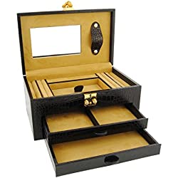 2-drawer leather jewelry box engraved coconut Size: U Color: BLACK