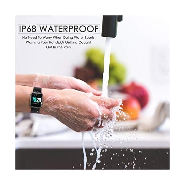 HOMVILLA Smartwatch Fitness Tracker Reloj Inteligente Impermeable IP68 Fitness con Monitor de Ritmo Cardíaco Podómetro Monitor de Sueño Cronómetro Temporizador para Hombres Mujeres iPhone Android rosado 4