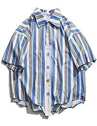 02e34efbd0 DXHNIIS Camisa a Rayas Manga Corta Parche Bordado de Verano en la Parte  Delantera Camisas de Hombre Camisas de Gran tamaño para…