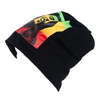 Hommes Mesdames Beanie/Skullies Chapeau Bob Marley Print - noir-rouge-vert-doré (Rasta) (unique taille)