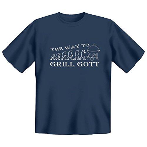 DAS Shirt für BBQ-Fans und Grillprofis: The way to Grill Gott T-Shirt, Farbe stahlblau, Stahlblau