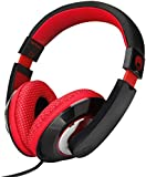 RockPapa Over Ear Stereo Headphones Earphones, for Adults Kids Childs Boys Girls, Noise Isolating, Adjustable, Heavy Deep Bass for iPhone iPod iPad MP3 MP4 Players SmartPhones Computer Music Gaming Headphone Black & Red