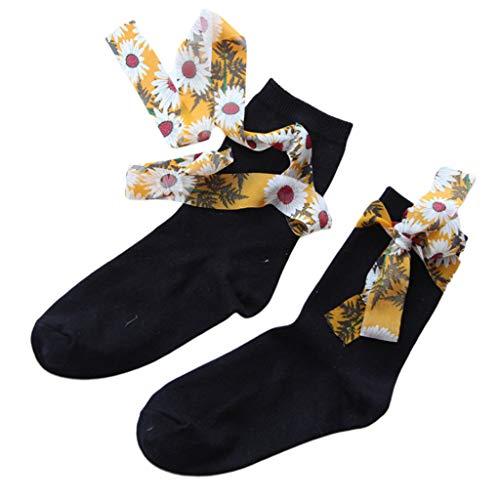 Yanhonin Socken aus gekämmter Baumwolle für Damen, Lange Socken, Schleifenband, Blumendruck schwarz