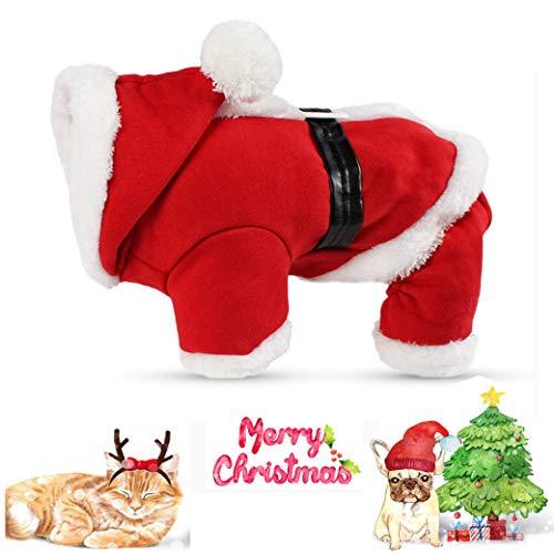 Weihnachtliche Haustier-Kleidung, Haustier-Kostüm Niedlich Verstellbare Santa Claus Kleidung Kostüm Hoodie Samtmantel PET Hoodie Mantel Für Kleine Mittelgroße Katzen Hunde,XL