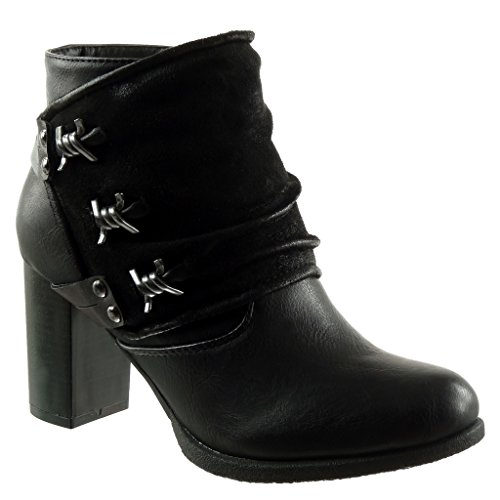 Angkorly - Fashionable sneakers Cavalier biker ankle boots - Classic biker women studded Buckle thong Heel High heel 7.5 CM - Skin lined insole - Black F2116 T 39