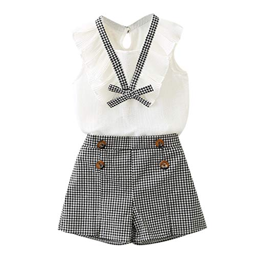 Weant Baby Mädchen Outfits Kleidung Bowknot Weste Tops + Plaid Shorts Hosen Sets Anzug 1-6 Jahre
