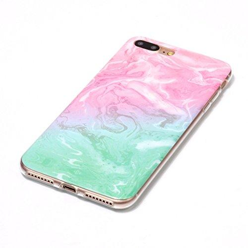 Per iPhone 7 Plus Cover , YIGA Moda rosa Marmo Silicone Morbido Molle TPU Case Caso Shell Protezione Copertura Custodia Copertina per Apple iPhone 7 Plus (YH75) YH72
