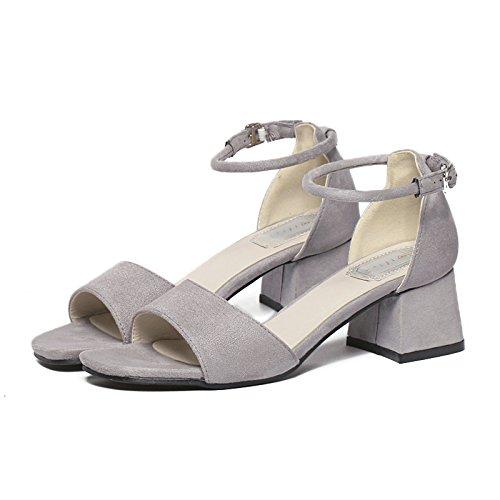 TMKOO 2017 été nouvelle épaisse avec daim carrés sandales à bout ouvert en noir avec des chaussures creuses rondes Gray