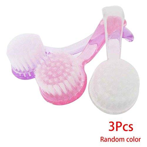 Mengonee 3PCS plastique Nail Salon épousseter Brosse Pédicure tête ronde ongles cosmétiques Manucure Nettoyant Pinceau Couleur au Hasard