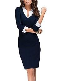 1e2cac7d86 Yacun Mujer Elegante Vestido De Trabajo de Oficina con Lápiz de Patchwork  para