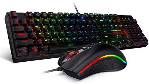 Redragon K582-BA USB QWERTY Mechanische Gaming Tastatur & M711 Cobra Gaming Maus Combo, 10.000 DPI, 7 Programmierbare Tasten, RGB Beleuchtete Tastatur, Schwarz