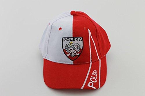 Baseballcap Caps Mütze Base Cap weiß/rot Polska