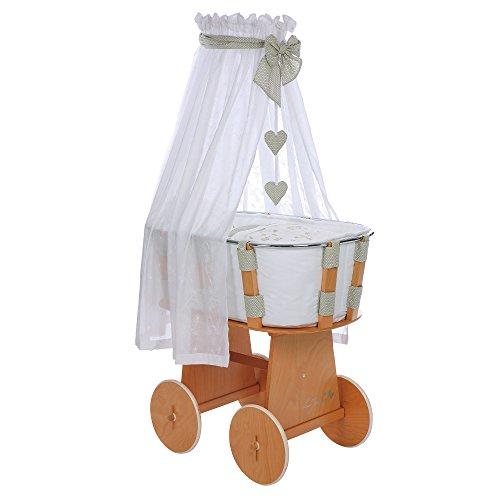 Gesslein 438034 Stubenwagen i.sleep bestehend aus Bettwäsche, Inletts, Nestchen, Matratze, Spannbetttuch, Himmel und Himmelthalter, natur/lilly (Lilly Baby Bettwäsche)