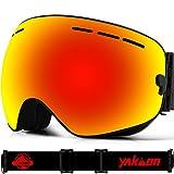 Skibrille für Damen und Herren von Yakaon Y1mit sphärischer Revo-Spiegelscheibe und rutschfestem Umhängegurt, mit Anlaufschutz, UV-Schutz, abnehmbarer Scheibe und Umhängeband, damen, Y1 Black Frame Red Lens VLT 25.4%