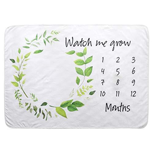 Youliy Baby Monatliche Meilenstein-Decke, Zeichnen Sie das Geschenk des Babywachstums auf, grünes Gras, Girlande Muster für Fotografie