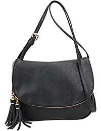 Zibuyu PU Leather Women Tassel Messenger Bag Handbag Shoulder Crossbody Bag