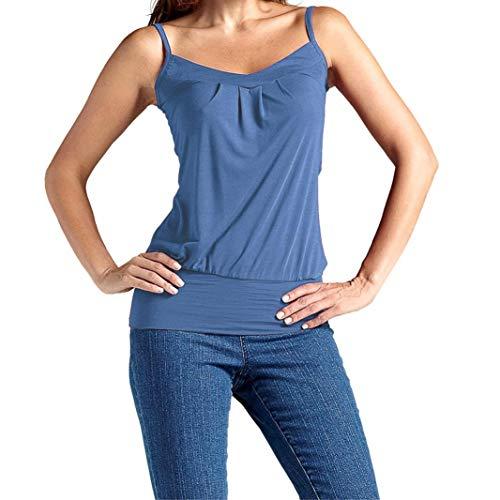 OYSOHE Damen Vogue Unifarben T Shirts, Neueste Frauen Sommer Sexy  Sleeveless Baumwolle Tank Camis Tops Weste Bluse Plus Größe (XXXL, Blau) 151480b85b
