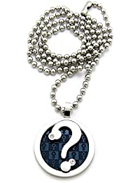 Original collier de ton argent à pendentif d'un point d'intérrogation dans un cercle marqué du signe masculin, chaîne à balles en acier inoxydable l.2 mm L.61 cm