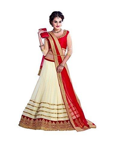Purva Art Girls Georgette Red & Cream Circular Lehenga Choli (PA_100_Kavya_Semi-Stitched_Wedding Wear)