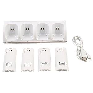 KOBWA 4 in 1 Wii Fernbedienung Ladestation mit 4 Wiederaufladbaren Batterien und LED-Kontrollleuchte für Nintendo Wii
