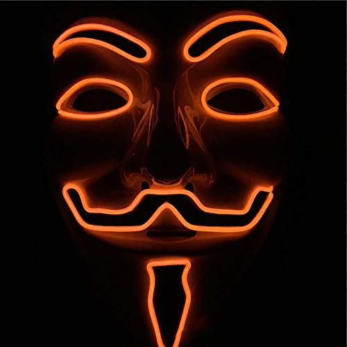 SPFAZJ Halloween leuchtende Maske Halloween EL kaltes Licht Led Leuchten Maske V Vendetta Team PVC Gute Qualität Maske