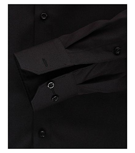 Venti - Slim Fit - Bügelfreies Herren Business Hemd mit Extra langem Arm(72cm) in verschiedenen Farben (001482) Schwarz (80)