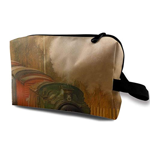 Reise-hängende Kosmetiktaschen Retro Steam Train Multi-Functional Toiletry Makeup Organizer Hanging Toiletry Bag