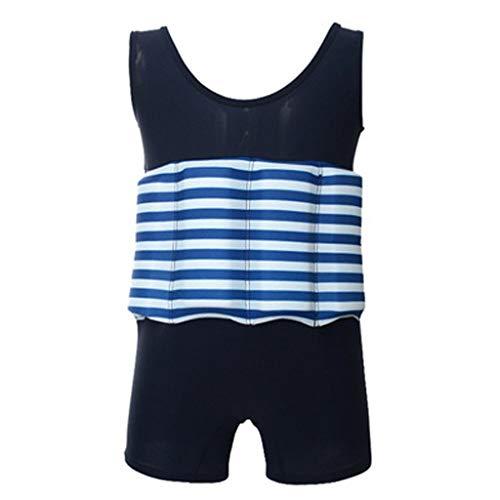 Frühling und Sommer Kinder Badeanzug Auftrieb Schwimm Stück abnehmbar schnelltrockn Bademoden Badeanzug Ausbildung(Blau, 110)