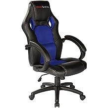 Mars Gaming MGC1BBL - Silla gaming profesional con ruedas (inclinación y altura regulables, inclinación 15 grados, reposacabezas acolchado, reposabrazos fijos y acolchados, ergonómica), azul