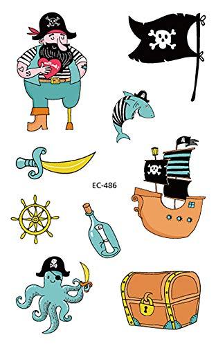 (Yica Piraten temporäre Tattoos für Kinder, 20 Blätter Fake Tattoo Aufkleber Kinder Party Mitgebsel Kindergeburtstag geschenktüten Kinder Spielen Piraten Party Zubehör)