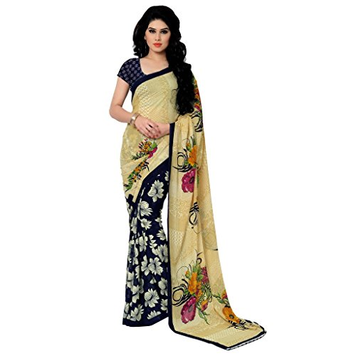 Anand Sarees Women's Georgette Saree (2942_DARK BLUE-YELLOW)