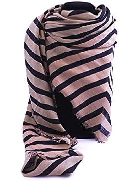 Foulard donna Armani Jeans 75% poliestere e 25% viscosa a fantasia rigata beige rosato e nero con logo.