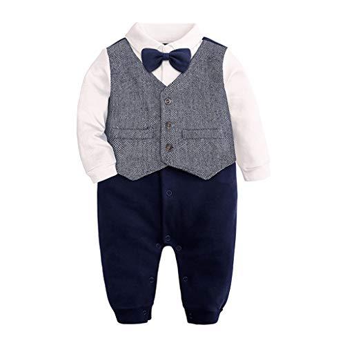 Realde Jungen Baby Langarm Jumpsuit Mode Retro Fliege Herrenbekleidung T-Shirt 0-24 Months Bekleidung Kleinkind Kind Baby Partykleid Festlich Babybekleidung Abendkleid (Abendkleid Informelles)