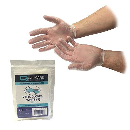 10Paar one size weiß/transparent Vinyl Premium Einweg unsteril Medical Erste Hilfe Puder Latex kostenlos Durable Schutz Mehrzweck-Lab Tattoo vet Zahnarzt Mechaniker Medic einzeln verpackt Paar Handschuhe