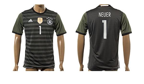 63af90e89 Uefa Euro 2016 Germany 1 Manuel Neuer Soccer Shirt European Championship  Jersey Mens Short Sleeve Away Size XL  Amazon.co.uk  Clothing