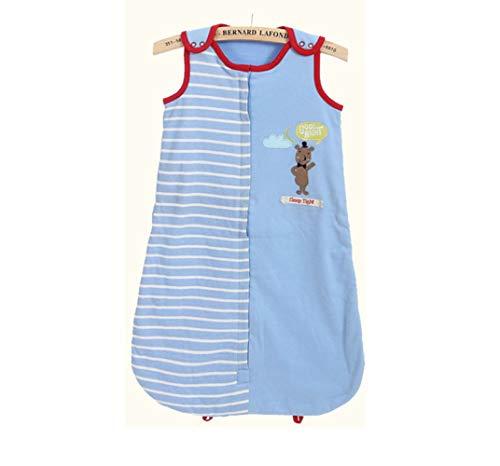 Azuo toccare naturalmente baby cotton indossabile ricamo knitting cartone animato sacco a pelo,blue,m