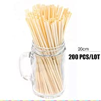 Natural Wheat Straw 100% Biodegradable Straws Environmentally Friendly Portable Drinking Straw 7.87inch Bar Kitchen Accessories