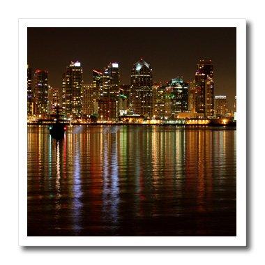 3dRose die Skyline von San Diego bei Nacht mit Reflexion in der Water-Cityscape, Downtown, California-Iron auf Wärmeübertragung, 6von 15,2cm für weiß Material (HT 157584_ 2) - Reflexion 2 T-shirt