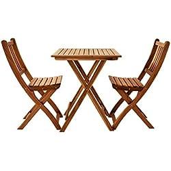 SAM 3-TLG. Balkongruppe Blossom, Akazienholz geölt, Gartengruppe mit 1 Tisch + 2 Stühle, klappbar, FSC Zertifiziert