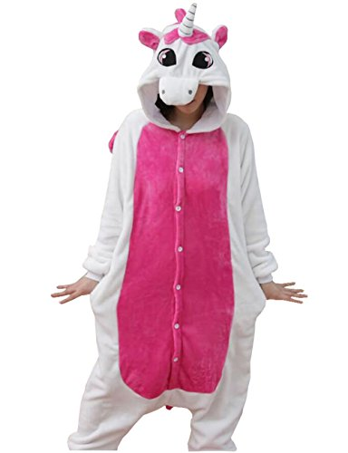 Pigiama a tuta intera invernale, in flanella, unisex, per adulti, blu Pink-Unicorn