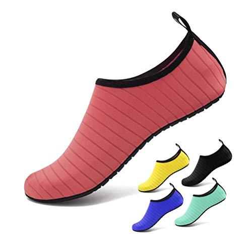 CosyInSofa Wasser Schuhe Barefoot Strand Schnorcheln Schwimmen Quick-Dry Slip On Yoga Strand Surf Schwimmen Socken für Herren Damen zum Wandern, Park, Bootfahren (38/39 EU, Watermelon red) -
