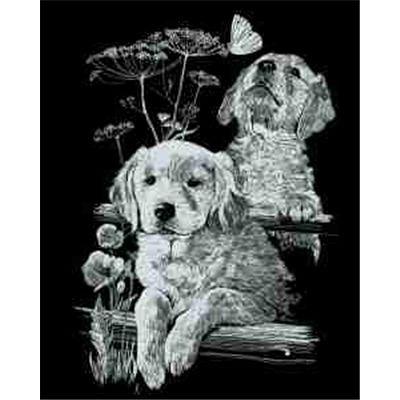 zbild, Motiv Labradors, silber, glänzend, Komplettset mit Kratzmesser und Übungsblatt, Scraper, Scratch, Kritzel, Kratzset für Kinder ab 8 Jahre ()