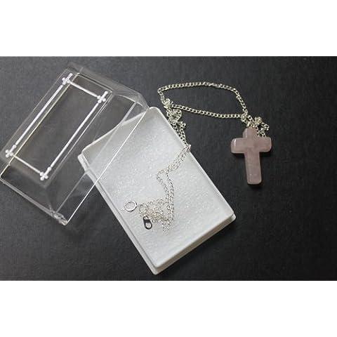 Cuarzo (25mm Crucifijo Cruz encanto Medalla Colgante bañado en plata cadena & Caja