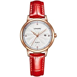 LONGBO Genuine leather watch female fashion trendy female table waterproof diamond calendar retro ladies quartz watch 5031L