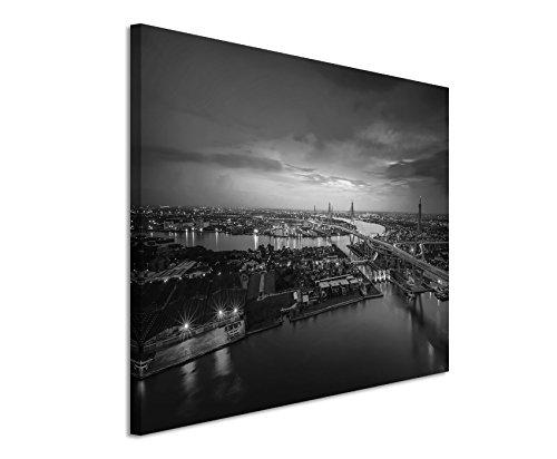 50x70cm Leinwandbild schwarz weiß in Topqualität Ausblick über Bangkok Thailand