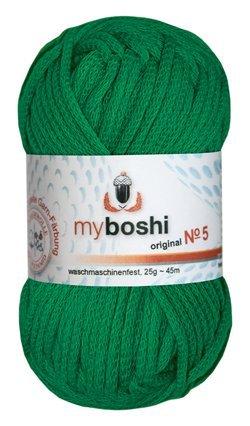 Myboshi No. 5, Farbe 522 grasgrün, 25g Knäuel, Sommerwolle, häkeln, Seelengarn, 57% Baumwolle und 43% Polyamid, Trendwolle, Häkel- & Strickgarn