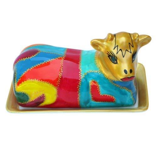 Butterdose, Handbemalte Kuh-Keramik im 'Cleopatra' Design in limitierter Auflage. Luxuriöse schwarze und pinke Verpackung. Ausgefallenes Hochzeits–oder Geburtstagsgeschenk ziert den Esstisch oder Küchentisch