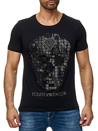 Lagos Herren T-Shirt Rundhals mit Totenkopf Strass 19754 (19754 sw, M) (Jacken Mit Strass-steinen)
