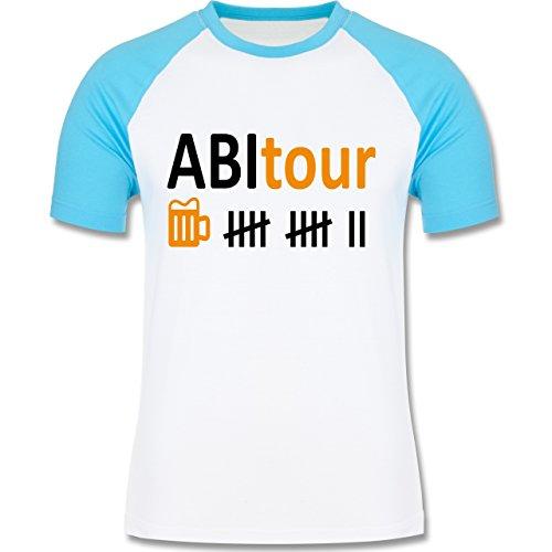 Abi & Abschluss - Abitour - zweifarbiges Baseballshirt für Männer Weiß/Türkis